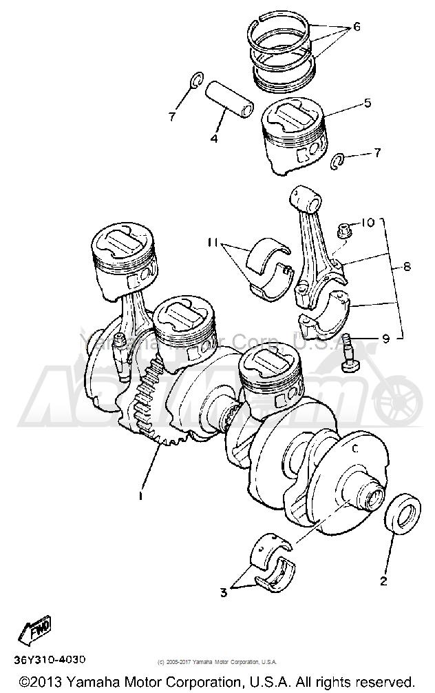 Запчасти для Мотоцикла Yamaha 1991 FJ1200B Раздел: CRANKSHAFT PISTON | коленвал поршень