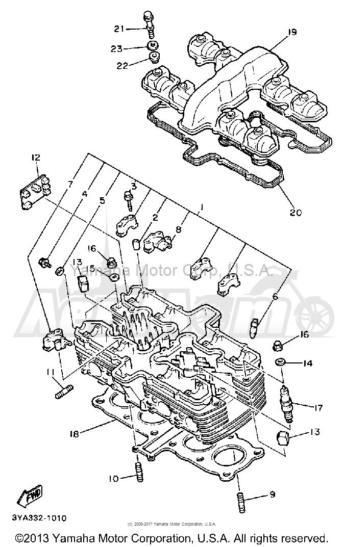 Запчасти для Мотоцикла Yamaha 1991 FJ1200B Раздел: CYLINDER HEAD | головка цилиндра