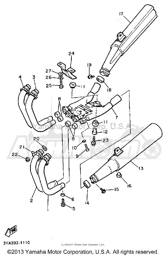 Запчасти для Мотоцикла Yamaha 1991 FJ1200B Раздел: EXHAUST | выпуск
