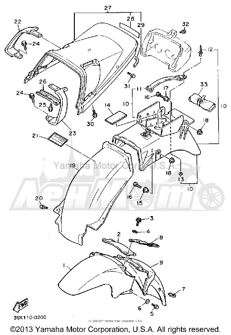 Запчасти для Мотоцикла Yamaha 1991 FJ1200B Раздел: FENDER | крыло
