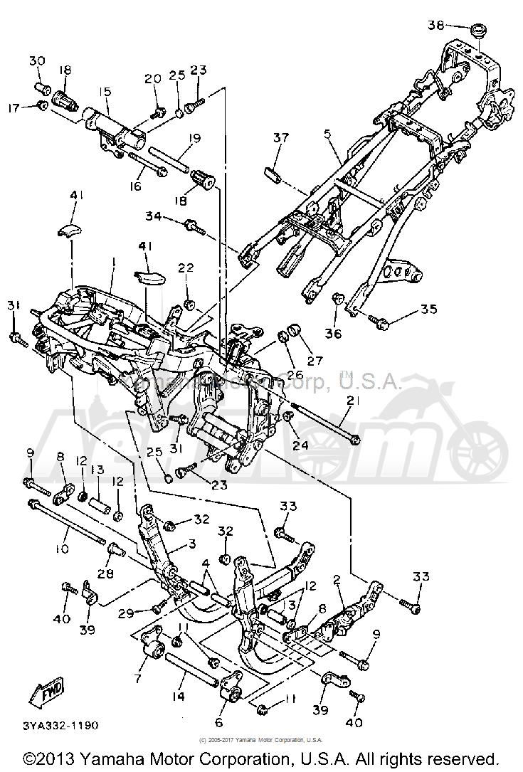 Запчасти для Мотоцикла Yamaha 1991 FJ1200B Раздел: FRAME   рама