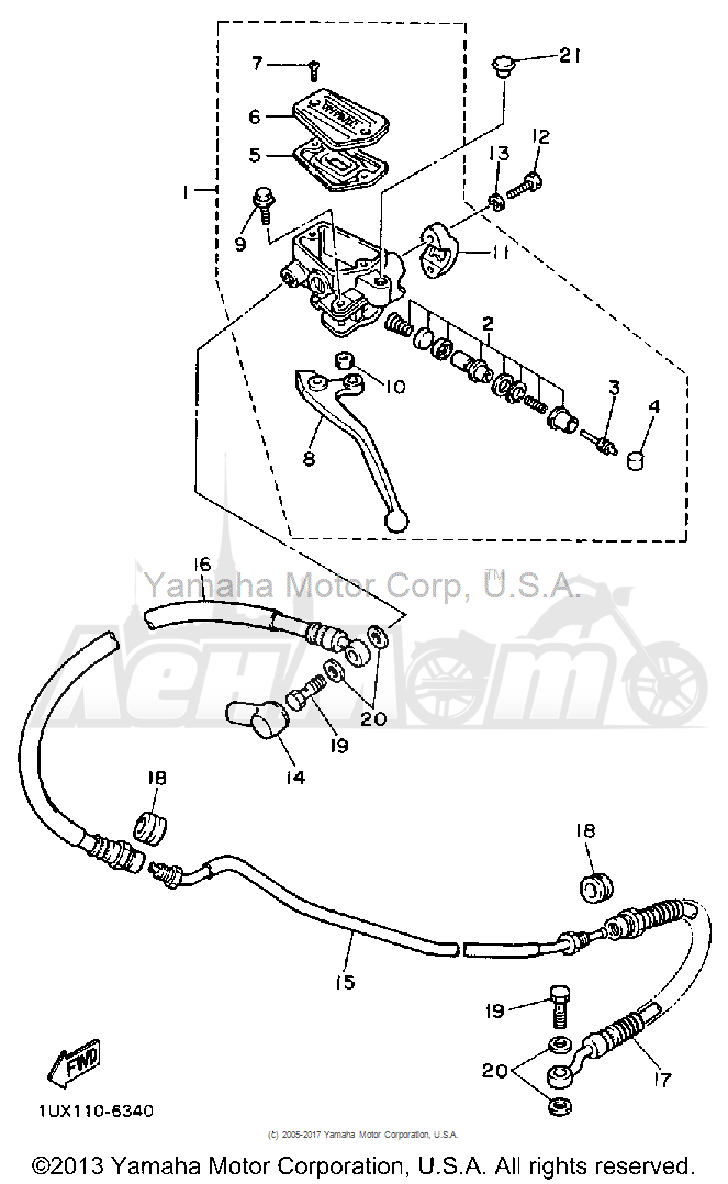 Запчасти для Мотоцикла Yamaha 1991 FJ1200B Раздел: FRONT MASTER CYLINDER 2 | перед главный цилиндр 2