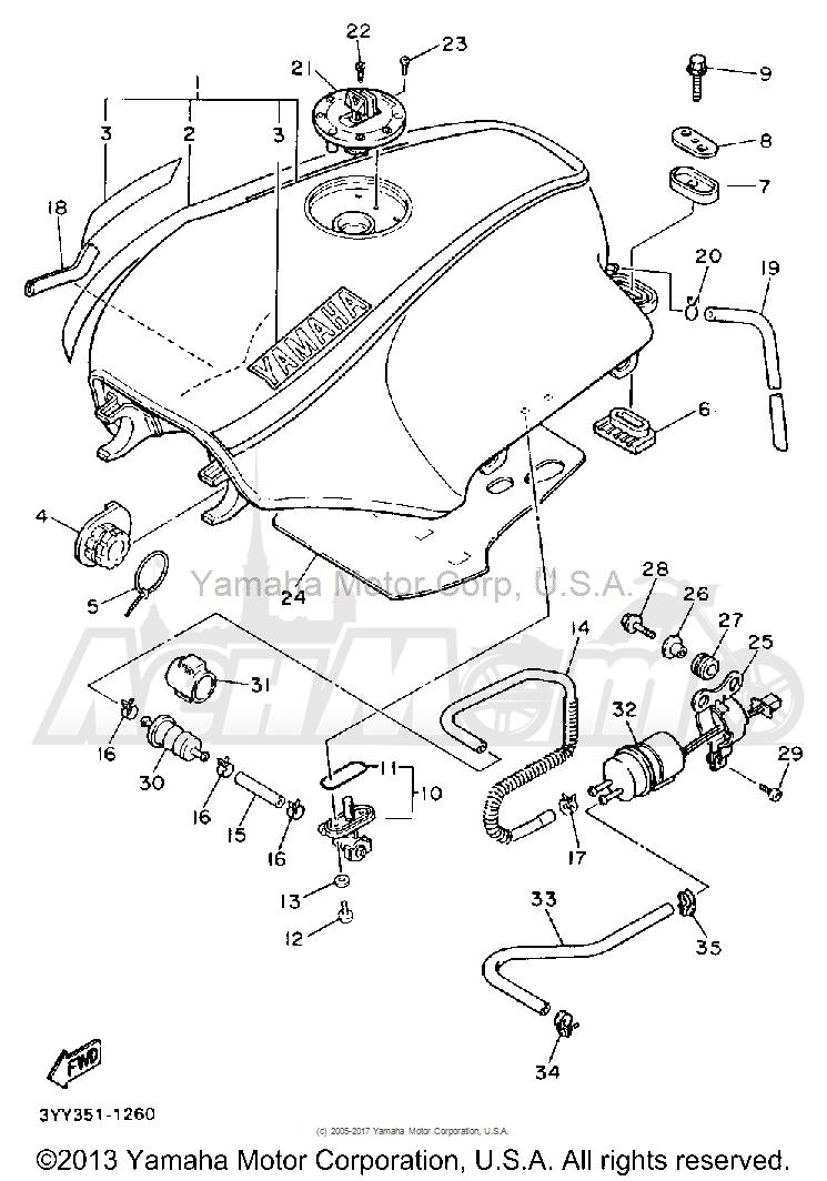 Запчасти для Мотоцикла Yamaha 1991 FJ1200B Раздел: FUEL TANK (NON-CALIFORNIA MODEL)   топливный бак (не калифорния модель)