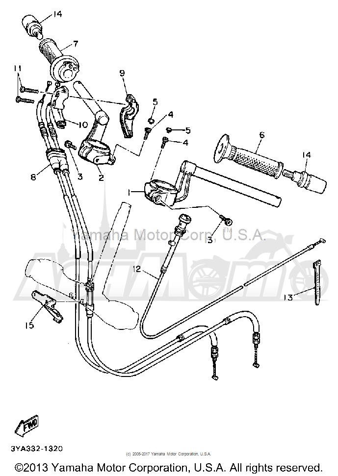 Запчасти для Мотоцикла Yamaha 1991 FJ1200B Раздел: HANDLEBAR CABLE | руль трос, кабель