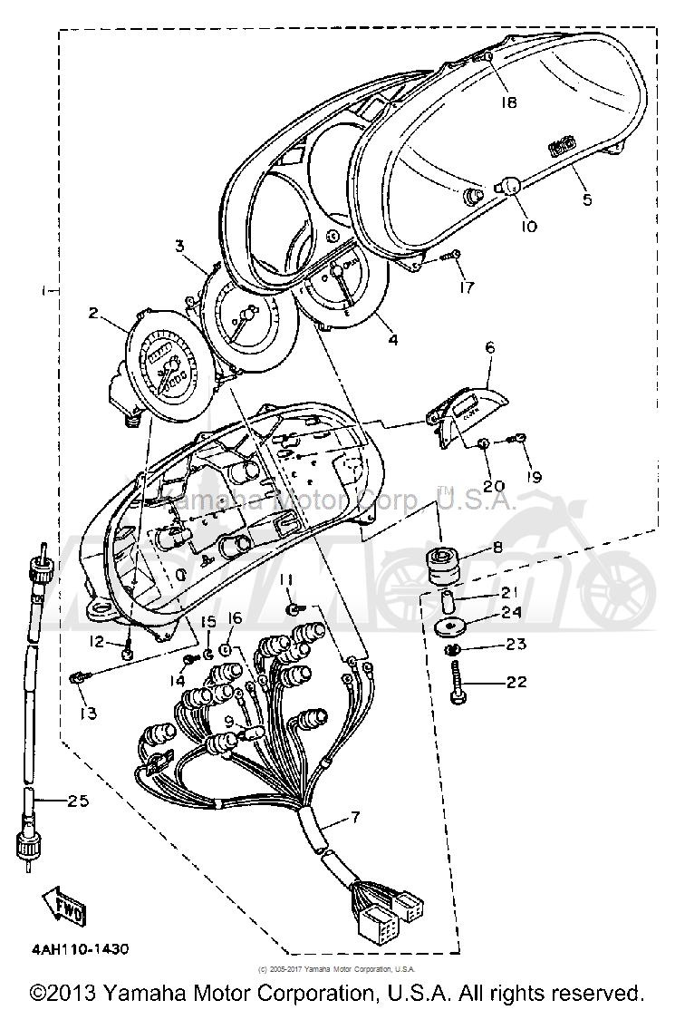 Запчасти для Мотоцикла Yamaha 1991 FJ1200B Раздел: METER   счетчик