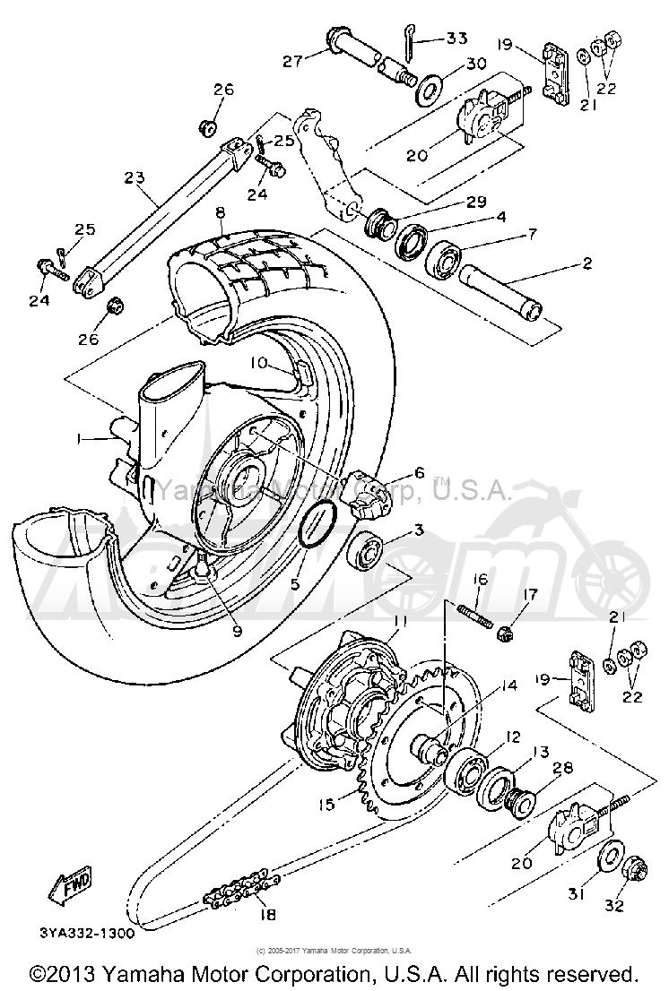 Запчасти для Мотоцикла Yamaha 1991 FJ1200B Раздел: REAR WHEEL | заднее колесо