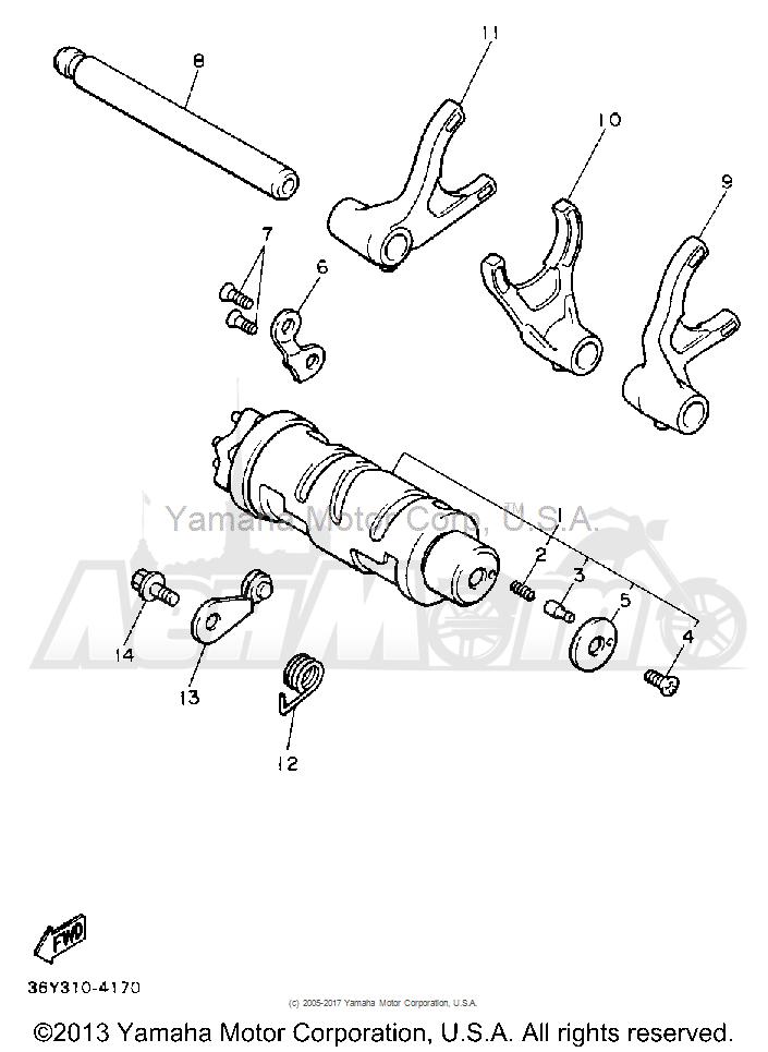 Запчасти для Мотоцикла Yamaha 1991 FJ1200B Раздел: SHIFT CAM FORK   переключение кулачок вилка