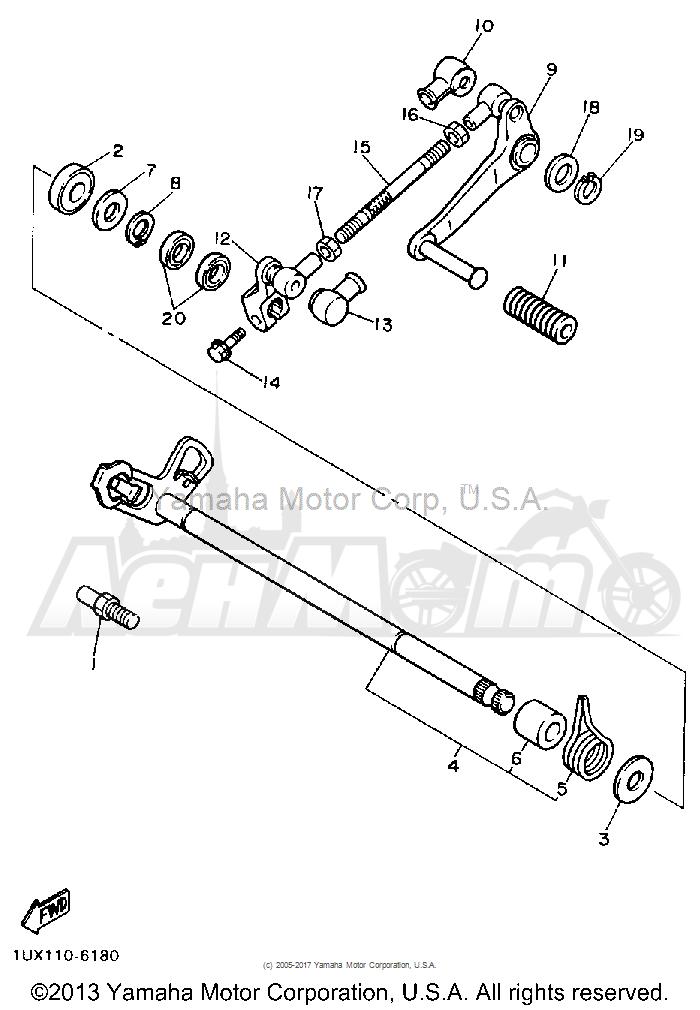 Запчасти для Мотоцикла Yamaha 1991 FJ1200B Раздел: SHIFT SHAFT | переключение вал