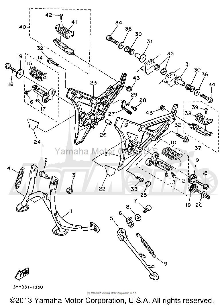 Запчасти для Мотоцикла Yamaha 1991 FJ1200B Раздел: STAND FOOTREST | подставка подножка