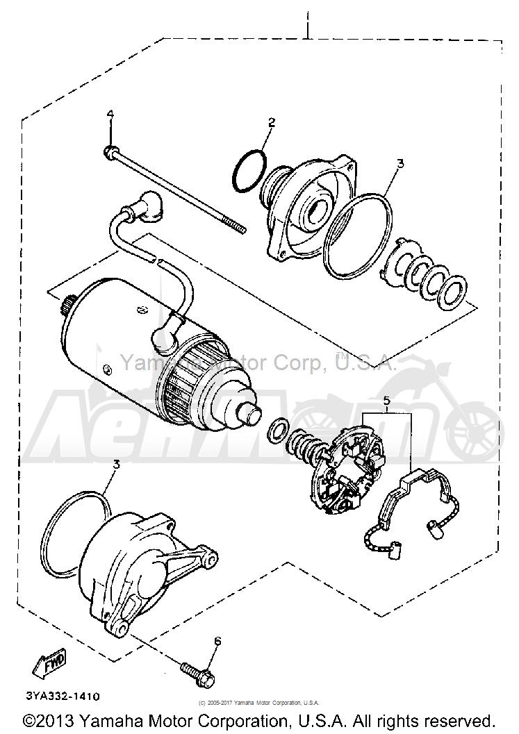 Запчасти для Мотоцикла Yamaha 1991 FJ1200B Раздел: STARTING MOTOR | электростартер