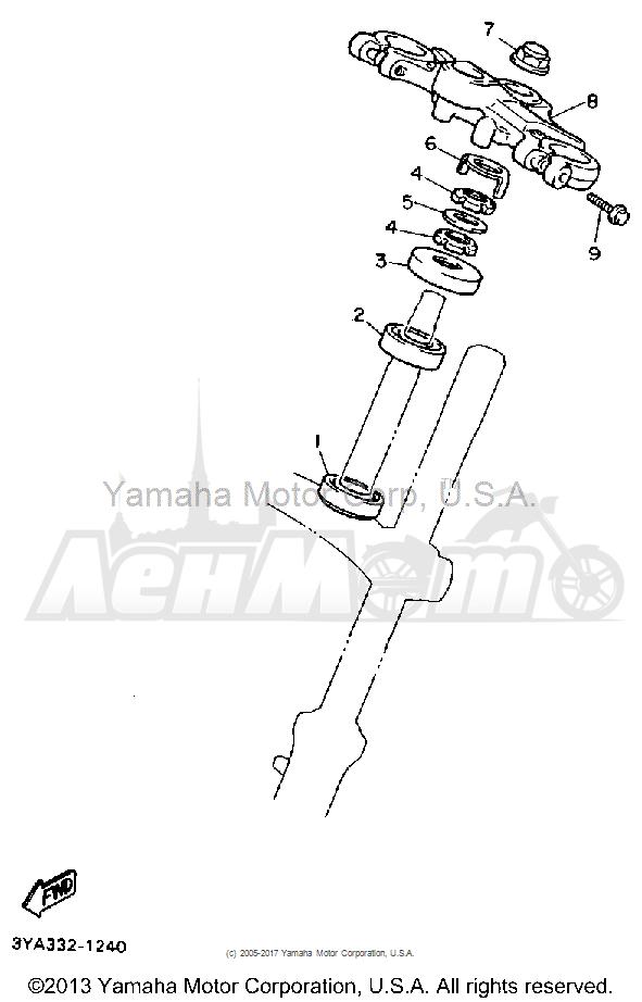 Запчасти для Мотоцикла Yamaha 1991 FJ1200B Раздел: STEERING | рулевое управление