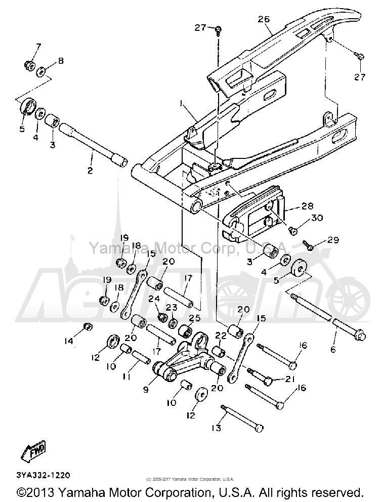 Запчасти для Мотоцикла Yamaha 1991 FJ1200B Раздел: SWING ARM | маятник
