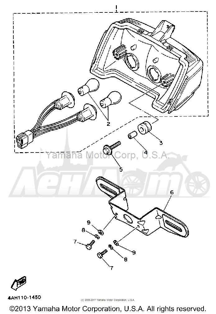 Запчасти для Мотоцикла Yamaha 1991 FJ1200B Раздел: TAILLIGHT   задний фонарь