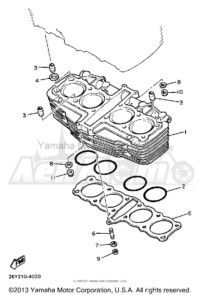 Запчасти для Мотоцикла Yamaha 1991 FJ1200BC Раздел: CYLINDER | цилиндр