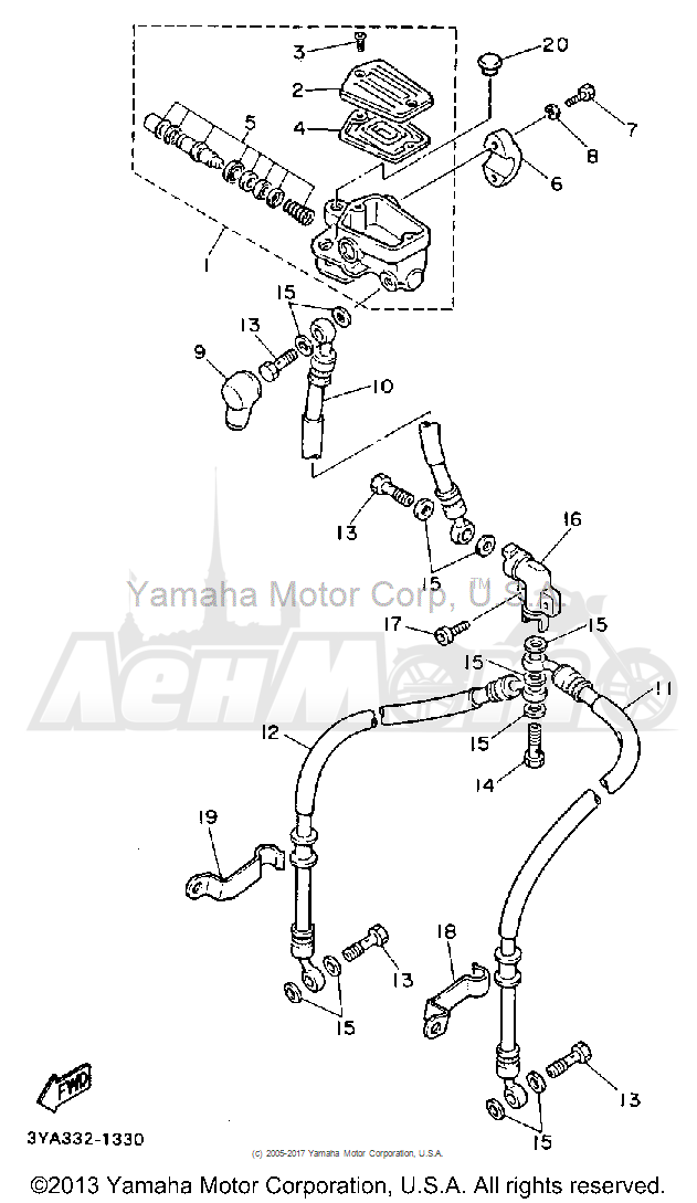 Запчасти для Мотоцикла Yamaha 1991 FJ1200BC Раздел: FRONT MASTER CYLINDER | перед главный цилиндр