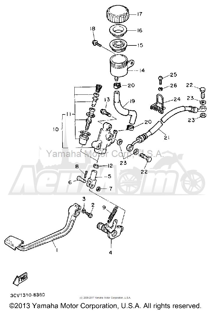 Запчасти для Мотоцикла Yamaha 1991 FJ1200BC Раздел: REAR MASTER CYLINDER | зад главный цилиндр