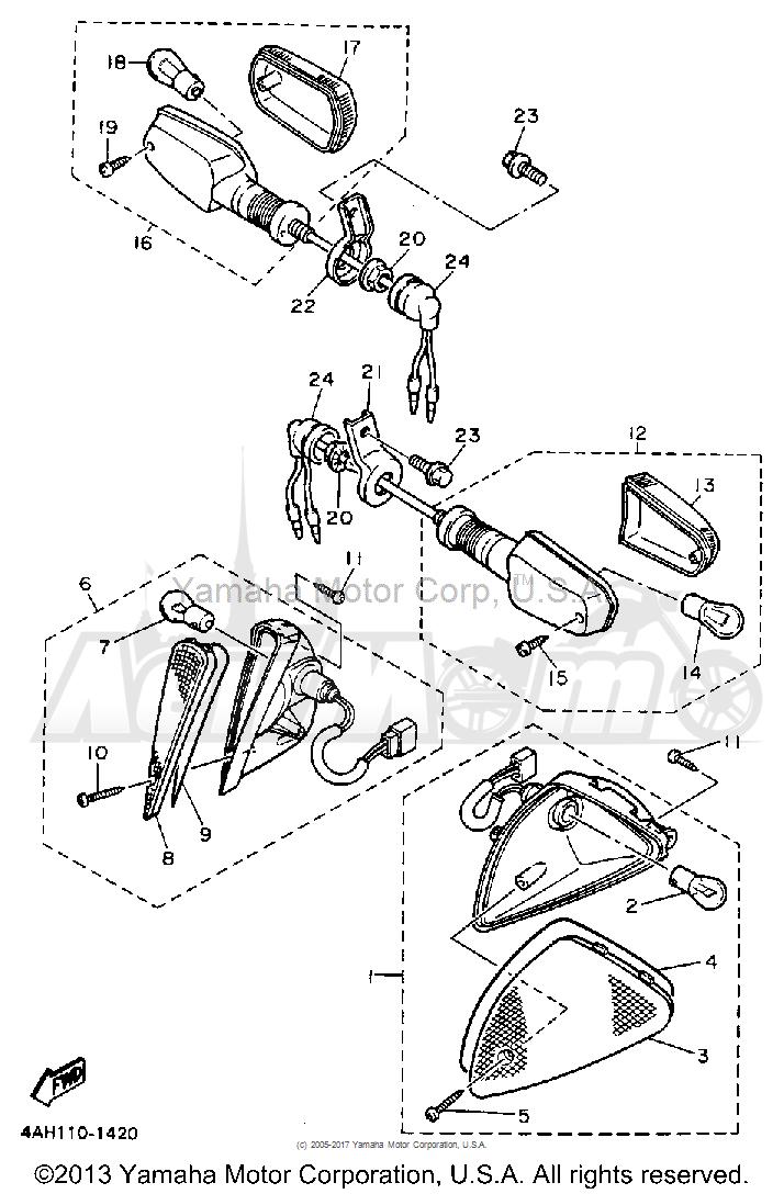 Запчасти для Мотоцикла Yamaha 1991 FJ1200BC Раздел: TURNSIGNAL | TURNSIGNAL