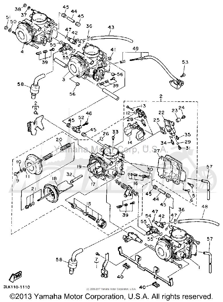 Запчасти для Мотоцикла Yamaha 1991 FZR1000B Раздел: CARBURETOR | карбюратор