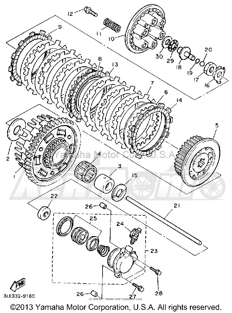 Запчасти для Мотоцикла Yamaha 1991 FZR1000B Раздел: CLUTCH | сцепление