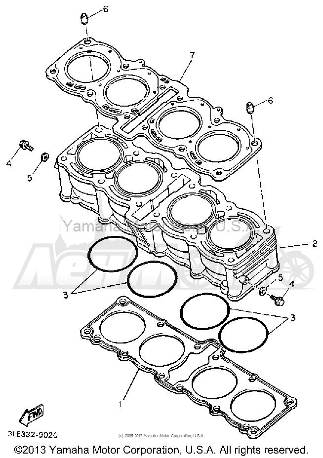 Запчасти для Мотоцикла Yamaha 1991 FZR1000B Раздел: CYLINDER | цилиндр
