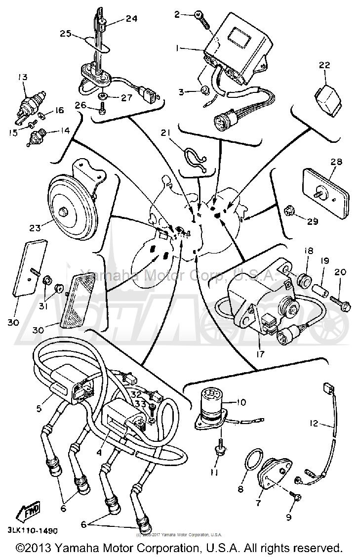 Запчасти для Мотоцикла Yamaha 1991 FZR1000B Раздел: ELECTRICAL 1 | электрика 1