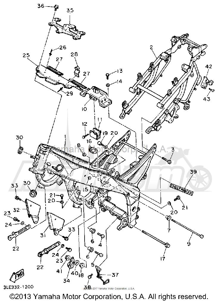 Запчасти для Мотоцикла Yamaha 1991 FZR1000B Раздел: FRAME   рама