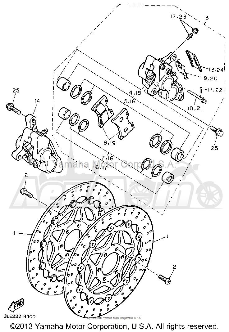 Запчасти для Мотоцикла Yamaha 1991 FZR1000B Раздел: FRONT BRAKE CALIPER | передний тормоз суппорт