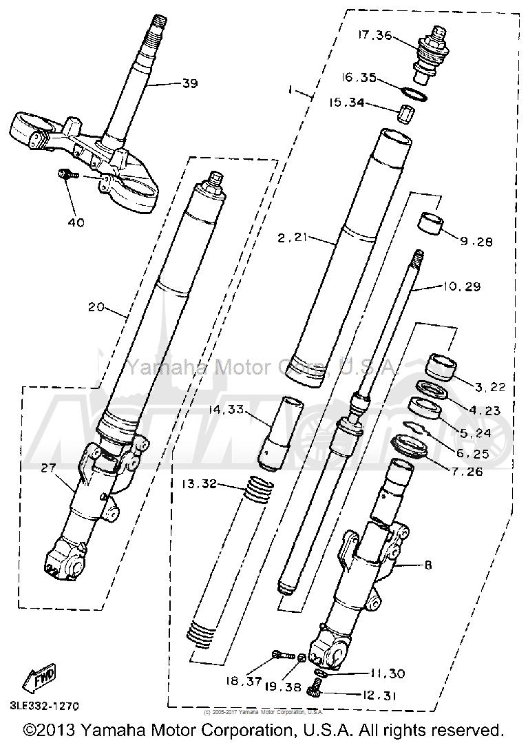 Запчасти для Мотоцикла Yamaha 1991 FZR1000B Раздел: FRONT FORK   передняя вилка