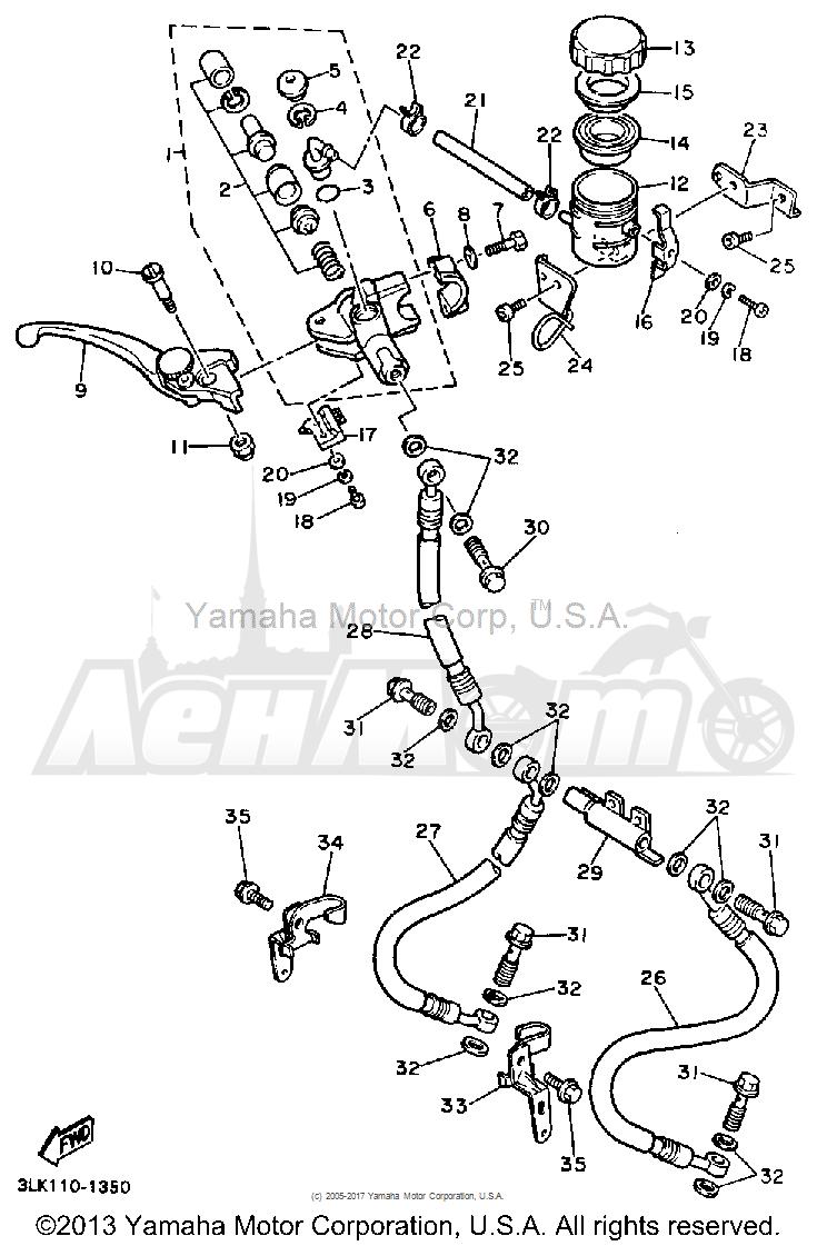 Запчасти для Мотоцикла Yamaha 1991 FZR1000B Раздел: FRONT MASTER CYLINDER | перед главный цилиндр