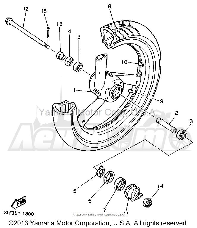 Запчасти для Мотоцикла Yamaha 1991 FZR1000B Раздел: FRONT WHEEL | переднее колесо