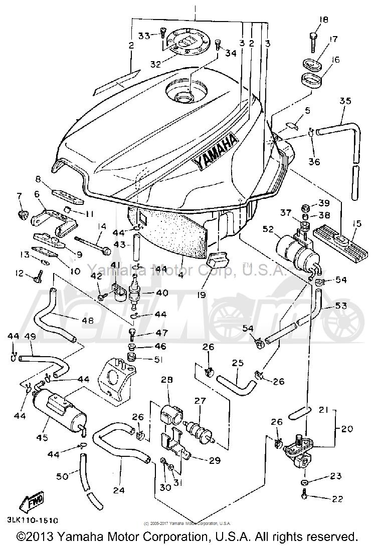 Запчасти для Мотоцикла Yamaha 1991 FZR1000B Раздел: FUEL TANK CALIFORNIA MODEL ONLY | топливный бак калифорния модель только