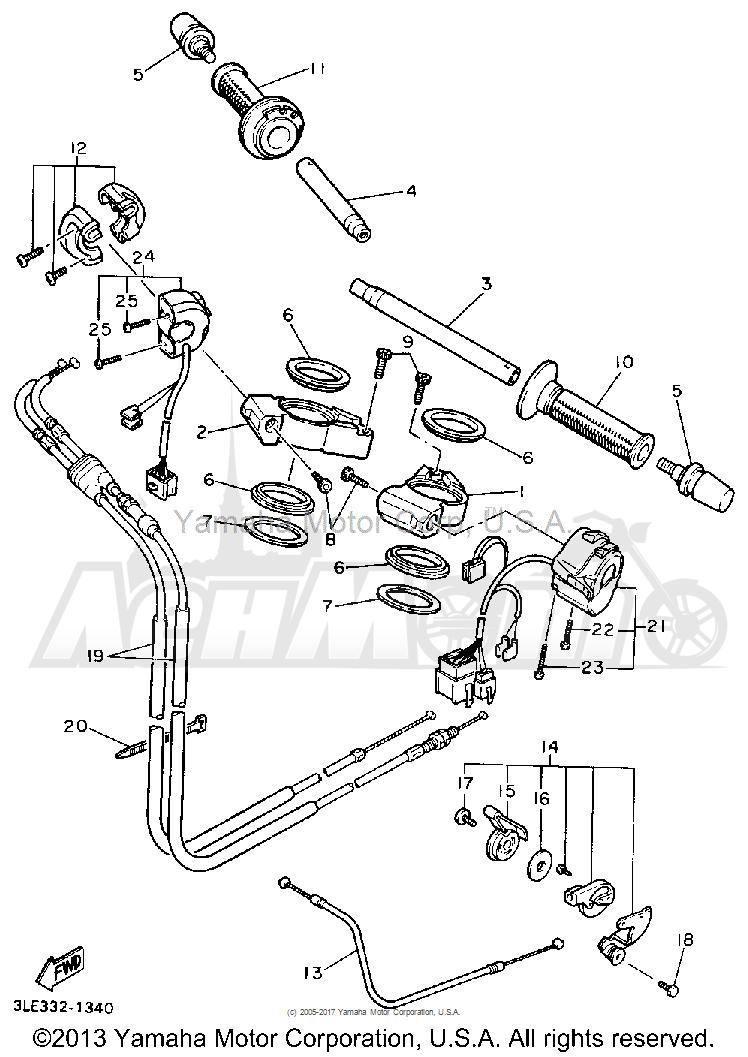 Запчасти для Мотоцикла Yamaha 1991 FZR1000B Раздел: HANDLEBAR CABLE | руль трос, кабель