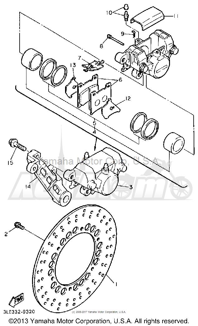 Запчасти для Мотоцикла Yamaha 1991 FZR1000B Раздел: REAR BRAKE CALIPER   задний тормоз суппорт