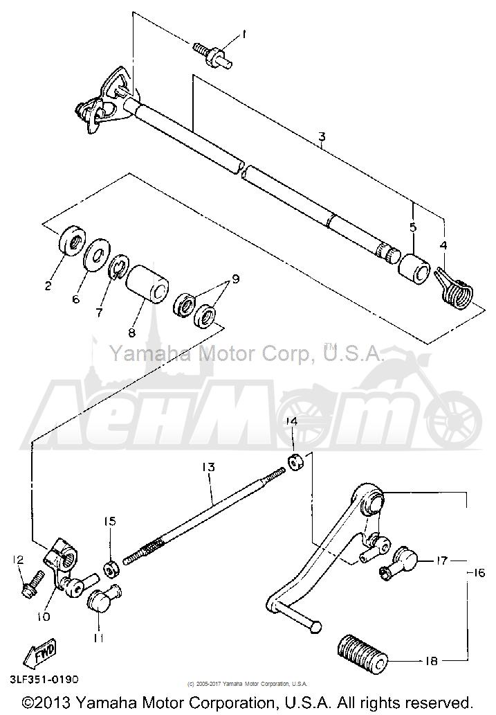 Запчасти для Мотоцикла Yamaha 1991 FZR1000B Раздел: SHIFT SHAFT | переключение вал