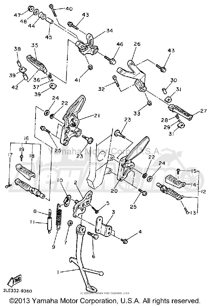 Запчасти для Мотоцикла Yamaha 1991 FZR1000B Раздел: STAND FOOTREST | подставка подножка