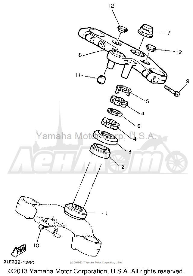 Запчасти для Мотоцикла Yamaha 1991 FZR1000B Раздел: STEERING | рулевое управление