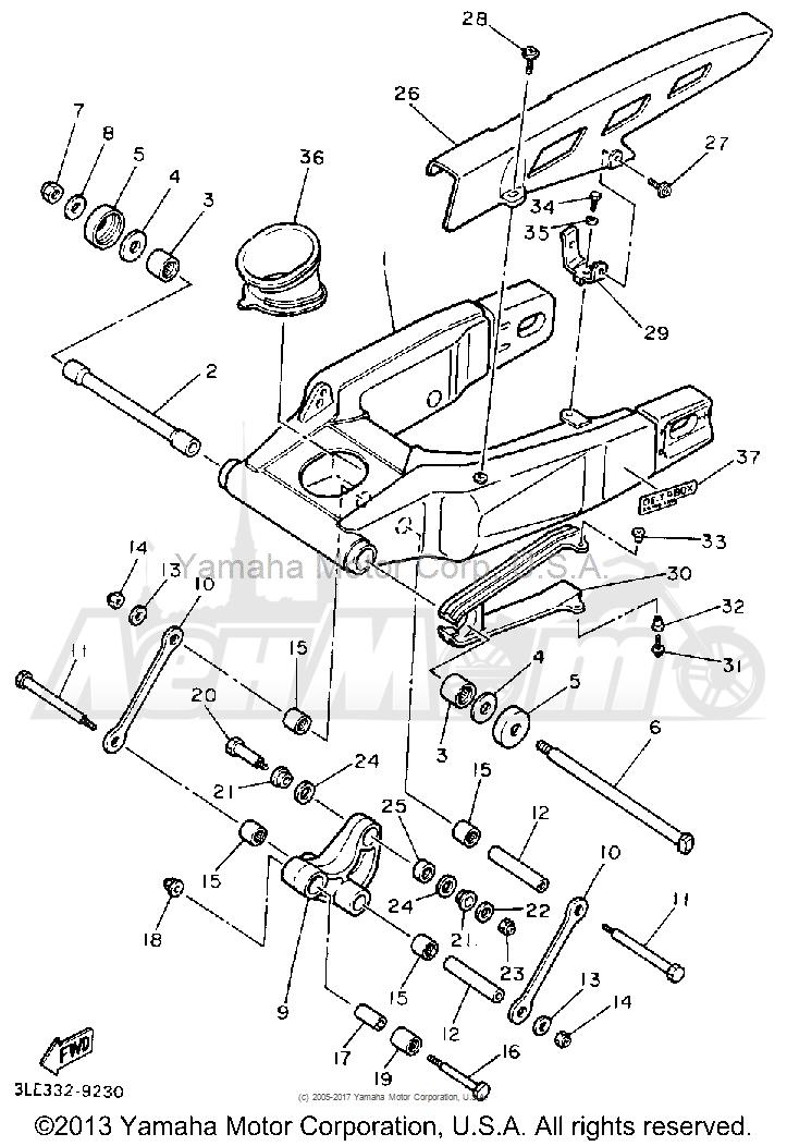 Запчасти для Мотоцикла Yamaha 1991 FZR1000B Раздел: SWING ARM | маятник