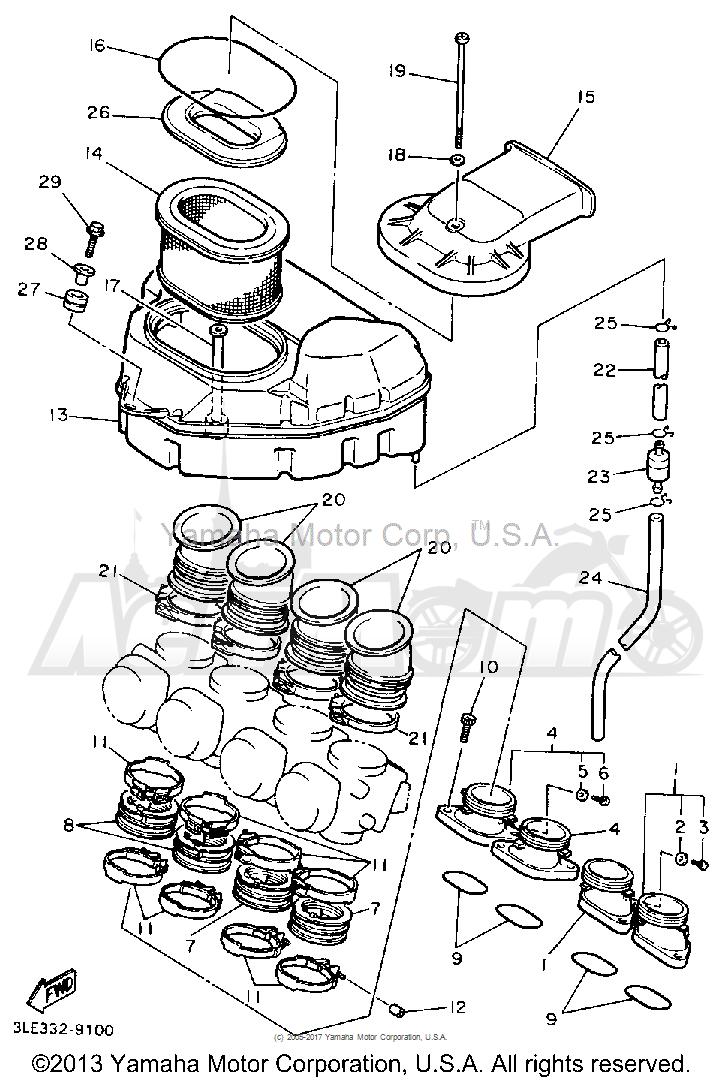 Запчасти для Мотоцикла Yamaha 1991 FZR1000BC Раздел: AIR FILTER | воздушный фильтр