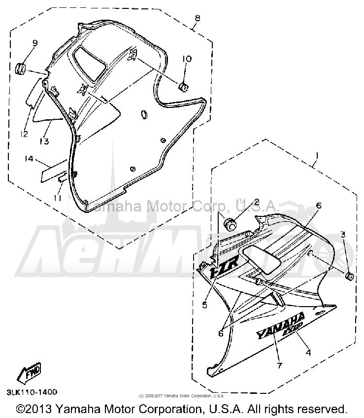 Запчасти для Мотоцикла Yamaha 1991 FZR1000BC Раздел: COWLING 2 | обтекатель 2