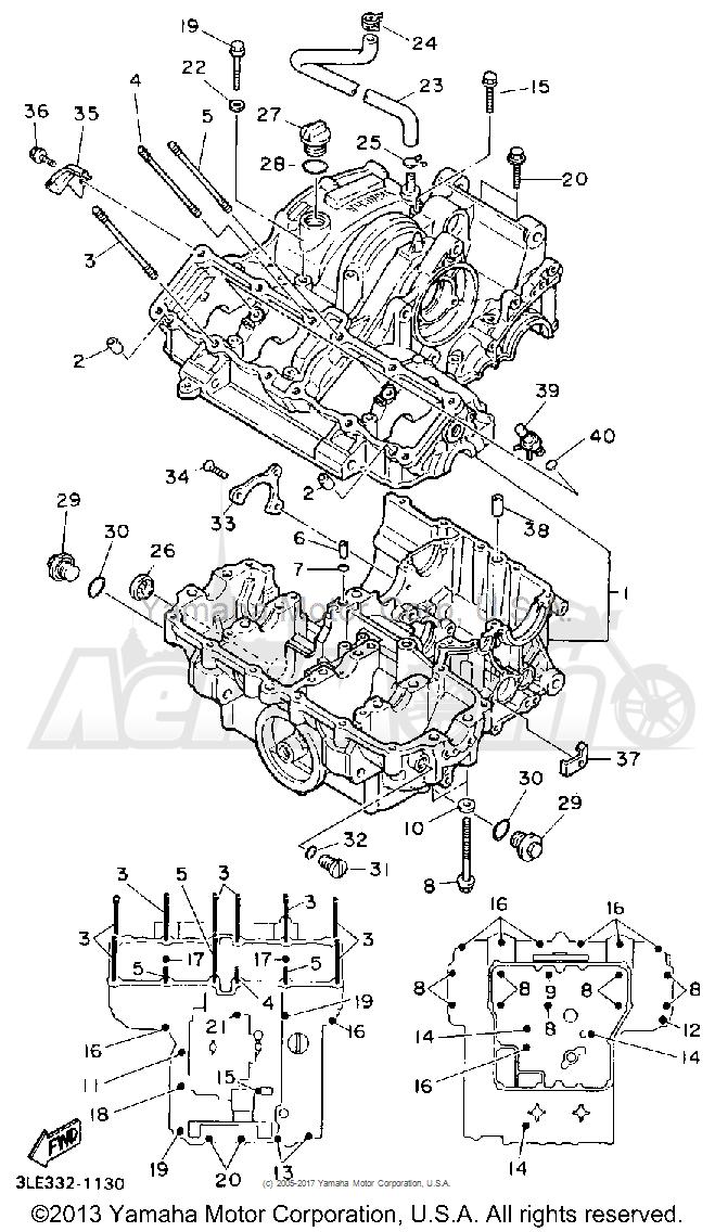 Запчасти для Мотоцикла Yamaha 1991 FZR1000BC Раздел: CRANKCASE   картер