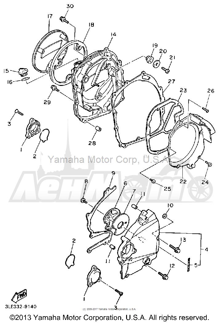 Запчасти для Мотоцикла Yamaha 1991 FZR1000BC Раздел: CRANKCASE COVER 1 | крышка картера 1