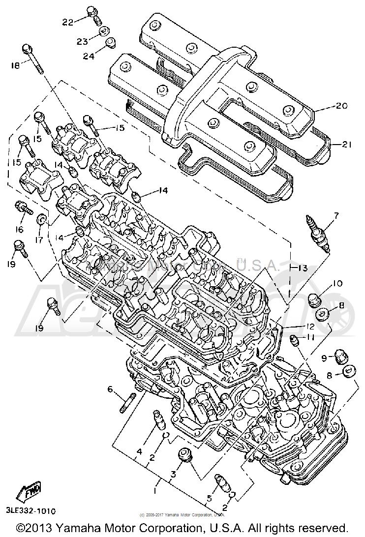 Запчасти для Мотоцикла Yamaha 1991 FZR1000BC Раздел: CYLINDER HEAD | головка цилиндра