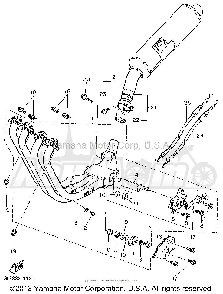 Запчасти для Мотоцикла Yamaha 1991 FZR1000BC Раздел: EXHAUST   выпуск