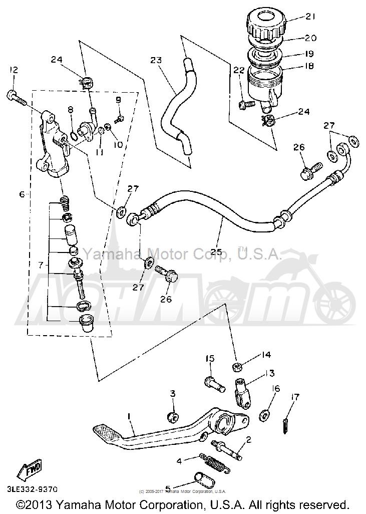 Запчасти для Мотоцикла Yamaha 1991 FZR1000BC Раздел: REAR MASTER CYLINDER | зад главный цилиндр