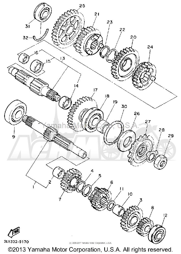 Запчасти для Мотоцикла Yamaha 1991 FZR1000BC Раздел: TRANSMISSION | трансмиссия