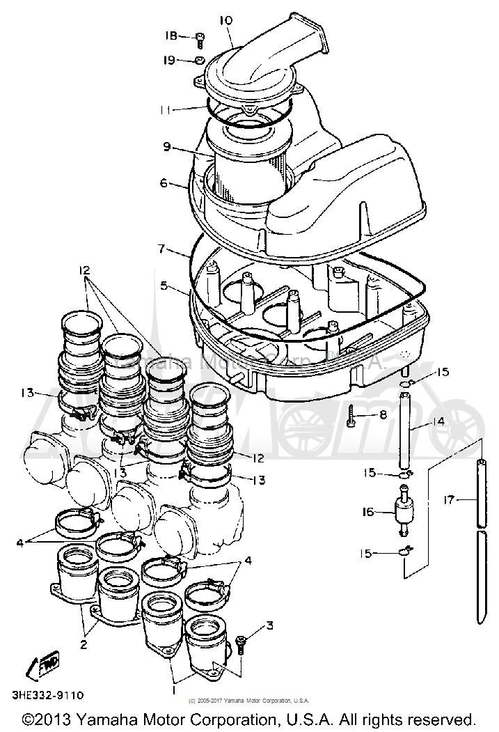 Запчасти для Мотоцикла Yamaha 1991 FZR600RB Раздел: AIR FILTER | воздушный фильтр