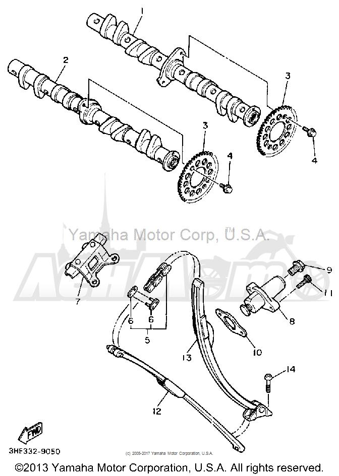 Запчасти для Мотоцикла Yamaha 1991 FZR600RB Раздел: CAMSHAFT CHAIN | распредвал цепь