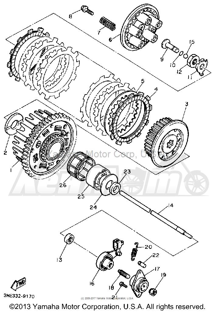 Запчасти для Мотоцикла Yamaha 1991 FZR600RB Раздел: CLUTCH | сцепление