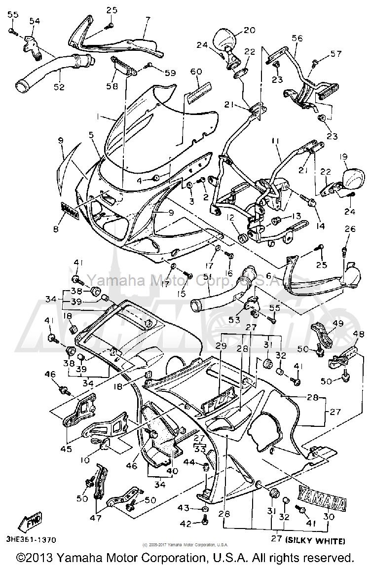 Запчасти для Мотоцикла Yamaha 1991 FZR600RB Раздел: COWLING 1 | обтекатель 1