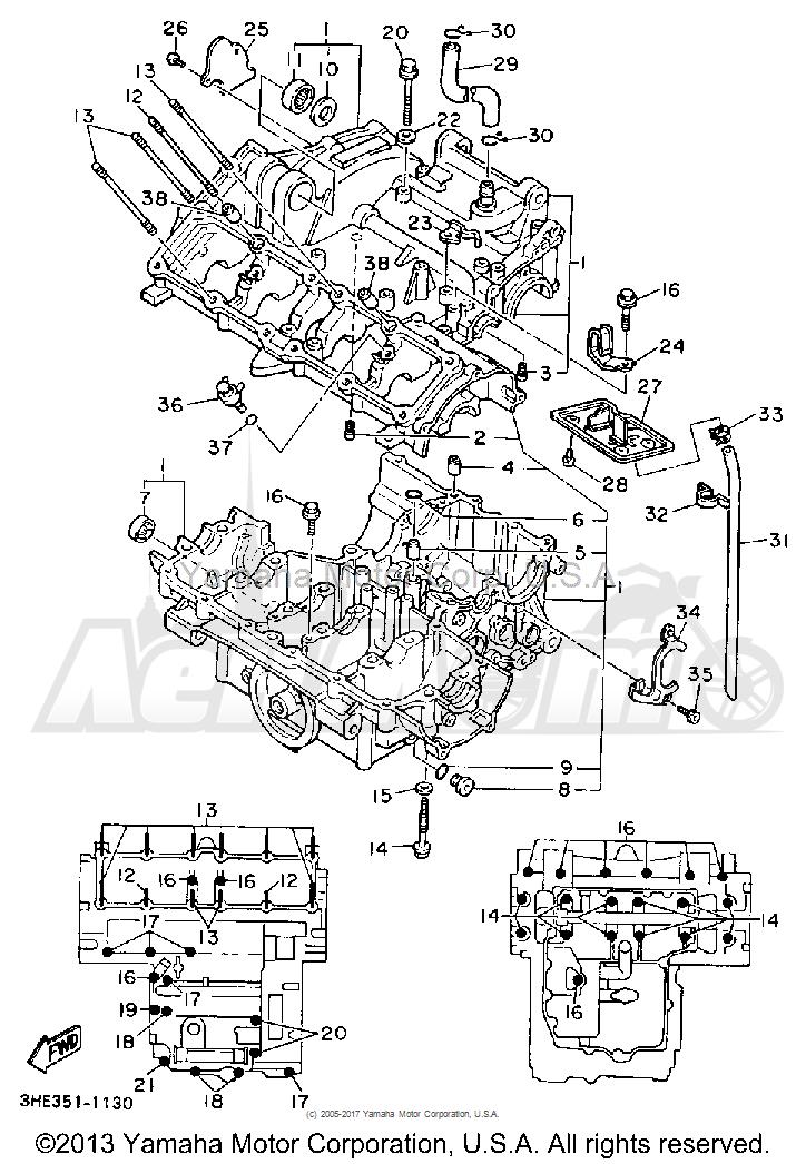 Запчасти для Мотоцикла Yamaha 1991 FZR600RB Раздел: CRANKCASE | картер